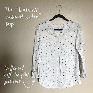 Croft & Barrow White Polka Dot Button-Down